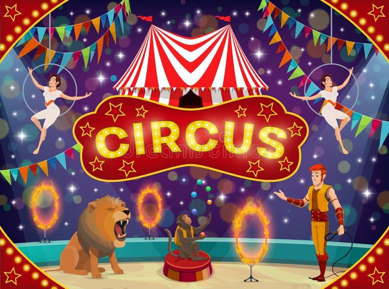 Instruktör och akrobater för cirkus djur Karnevalshow royaltyfri illustrationer