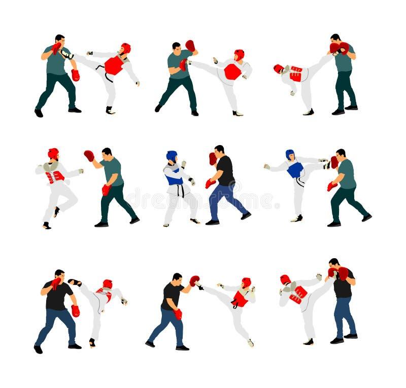 Instruktör- och Taekwondo kämpevektorillustration som isoleras på vit Munhuggas partnerkampsporter stock illustrationer