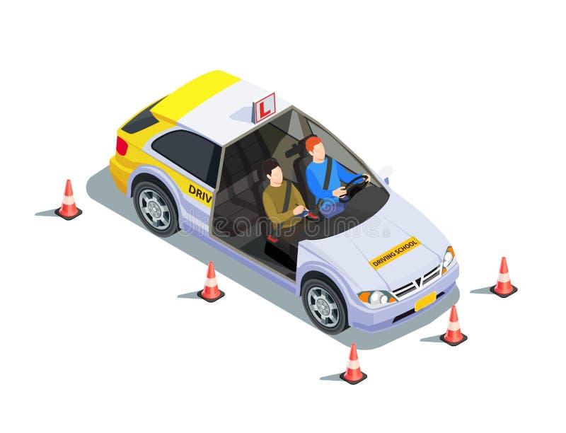 Instruktora Samochodowy Isometric skład ilustracji