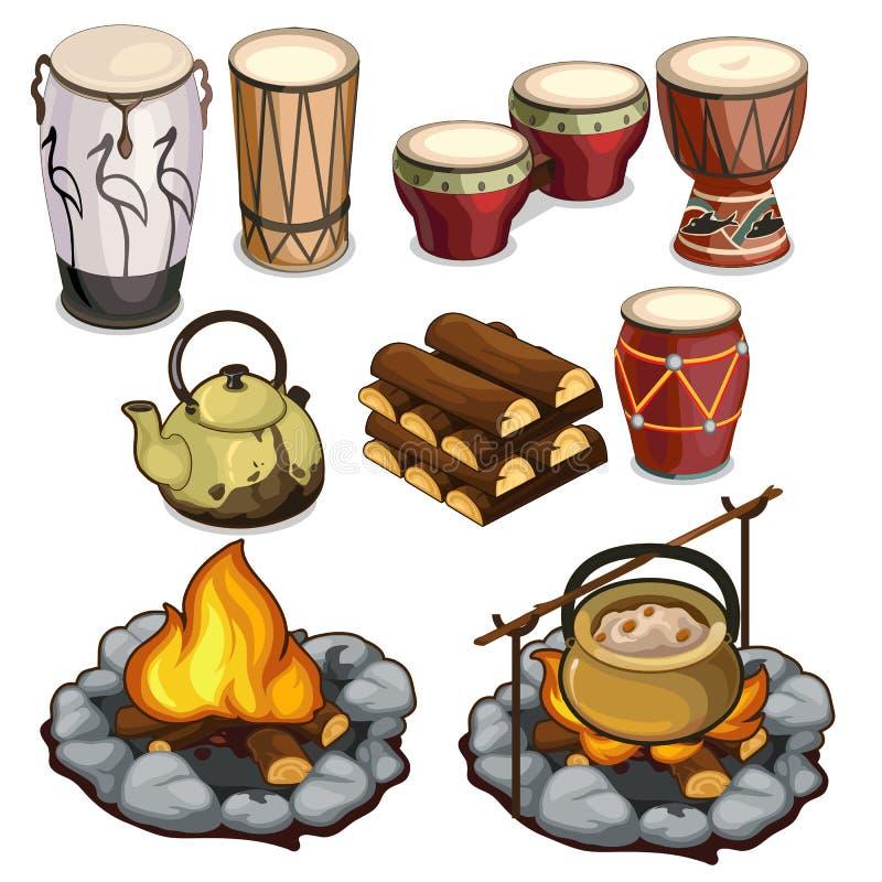 Instrumentów muzycznych bębeny i elementy camping ilustracji