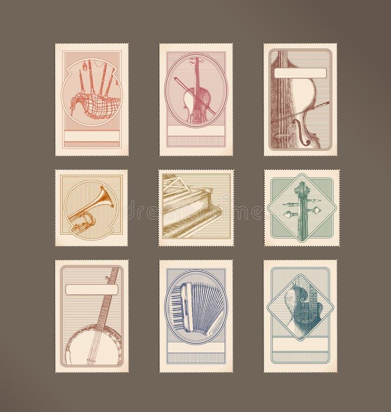instrumentów muzyki znaczki royalty ilustracja
