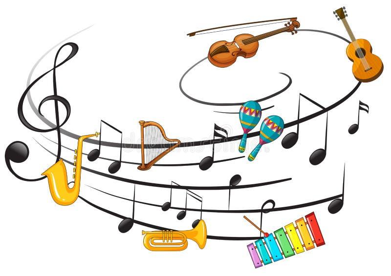 Instrument de musique avec la note de musique illustration stock