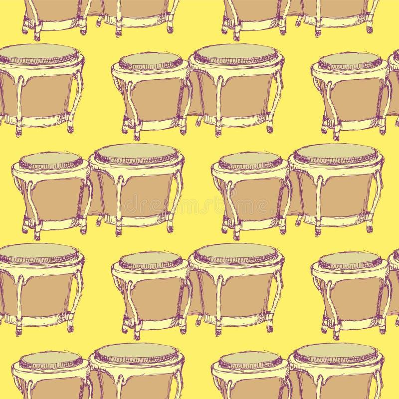 Instrument de musique de bongos de croquis dans le style de vintage illustration stock