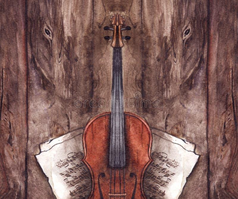 Instrument de musique de violon de violon de vintage d'aquarelle avec des notes de musique sur le fond en bois de texture illustration stock