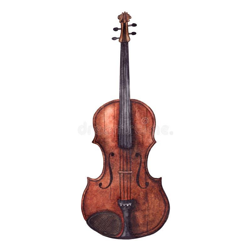 Instrument de musique en bois de violon de violon de vintage d'aquarelle illustration libre de droits