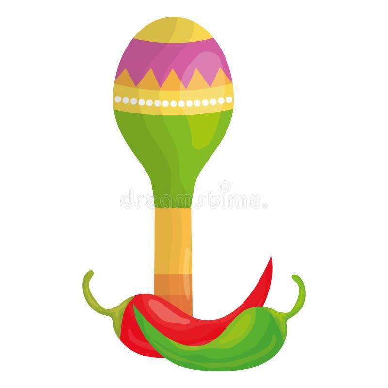 Instrument de musique de maraca avec le poivre de piments illustration stock