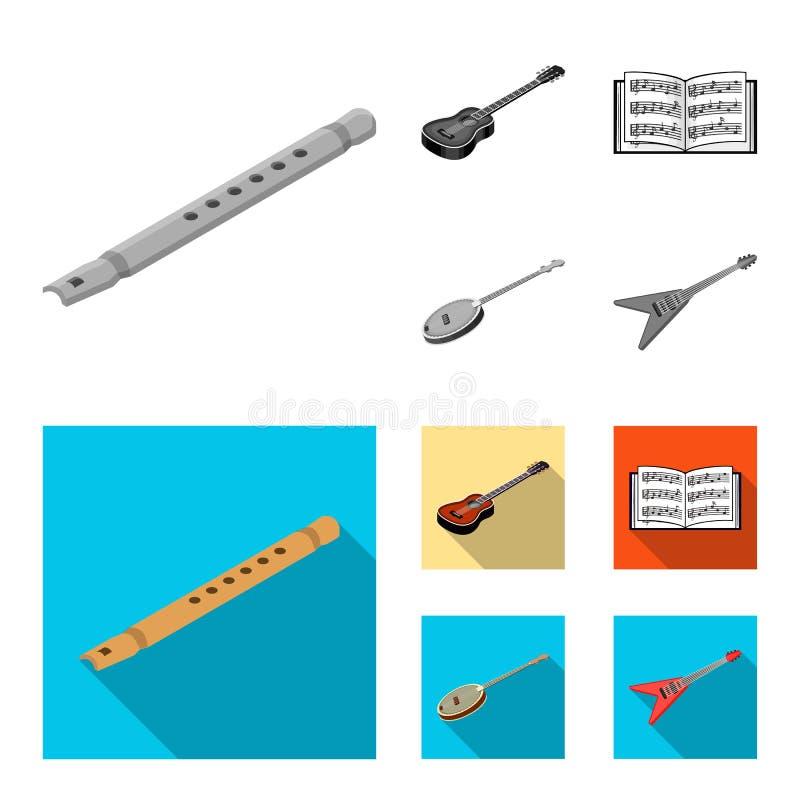 Instrument de musique monochrome, icônes plates dans la collection d'ensemble pour la conception Vecteur isométrique d'instrument illustration libre de droits