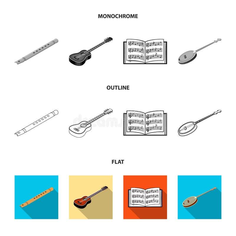 Instrument de musique plat, contour, icônes monochromes dans la collection d'ensemble pour la conception Instrument de ficelle et illustration stock