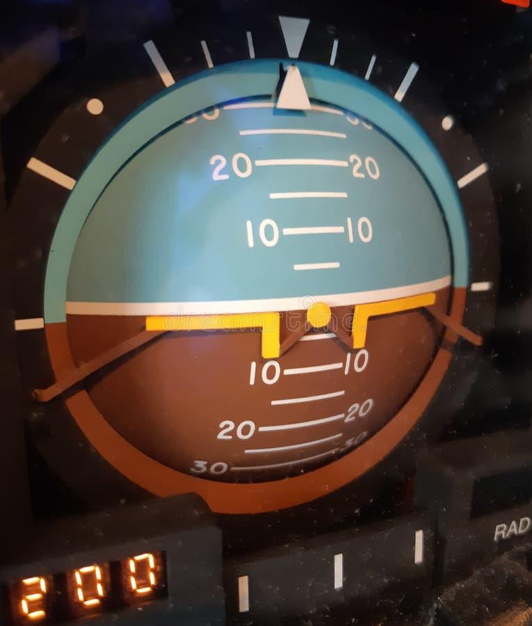Instrument för konstgjord horisont för flygpilotmått analogt arkivbild