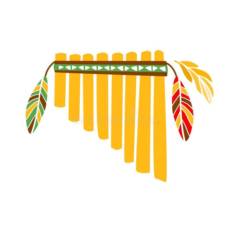 Instrument för musik för spökePanpipesflöjt med fjädergarnering, infödd indisk kultur inspirerat Boho etniskt stiltryck vektor illustrationer