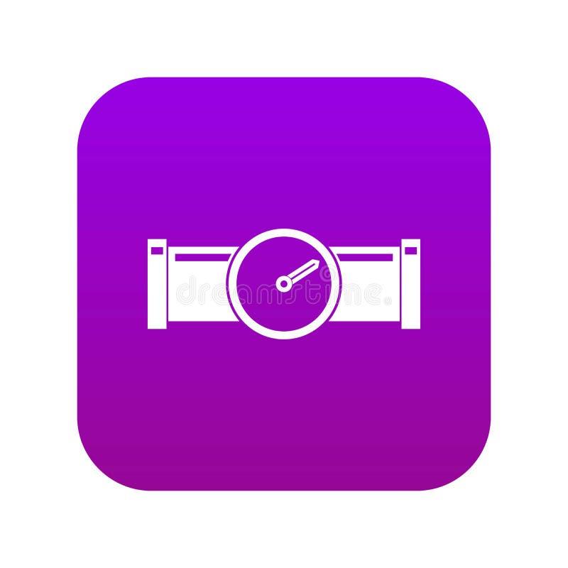 Instrument mierzy naciska w fajczanej ikony cyfrowych purpurach royalty ilustracja