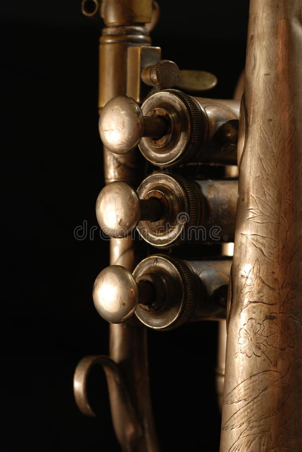 Instrument musical de cornet. image stock