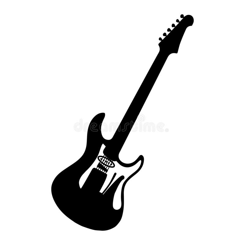 Instrument musical Guitare électrique de silhouette Basse Illustration de vecteur illustration de vecteur