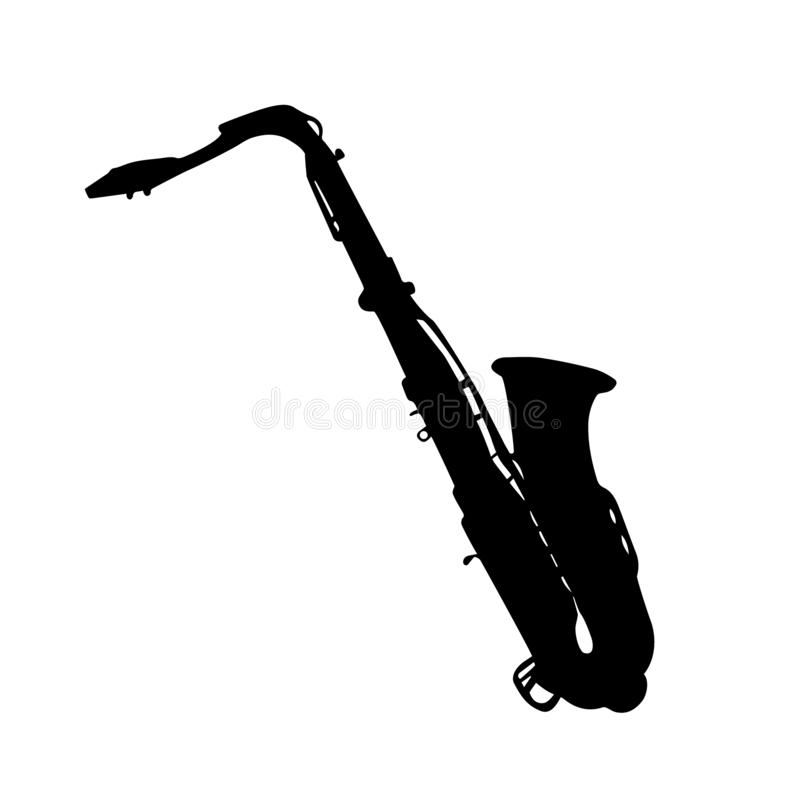 Instrument musical Illustration de vecteur de saxophone de silhouette illustration de vecteur