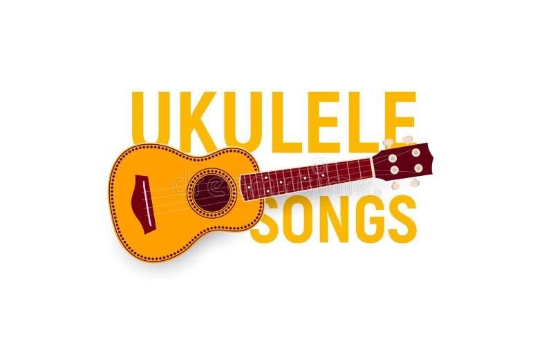 Instrument muzyczny ikona Ukulele piosenek akordy, songbook, muzyczny fest plakat Realistyczny logo szablon Nowożytny emblemata p royalty ilustracja