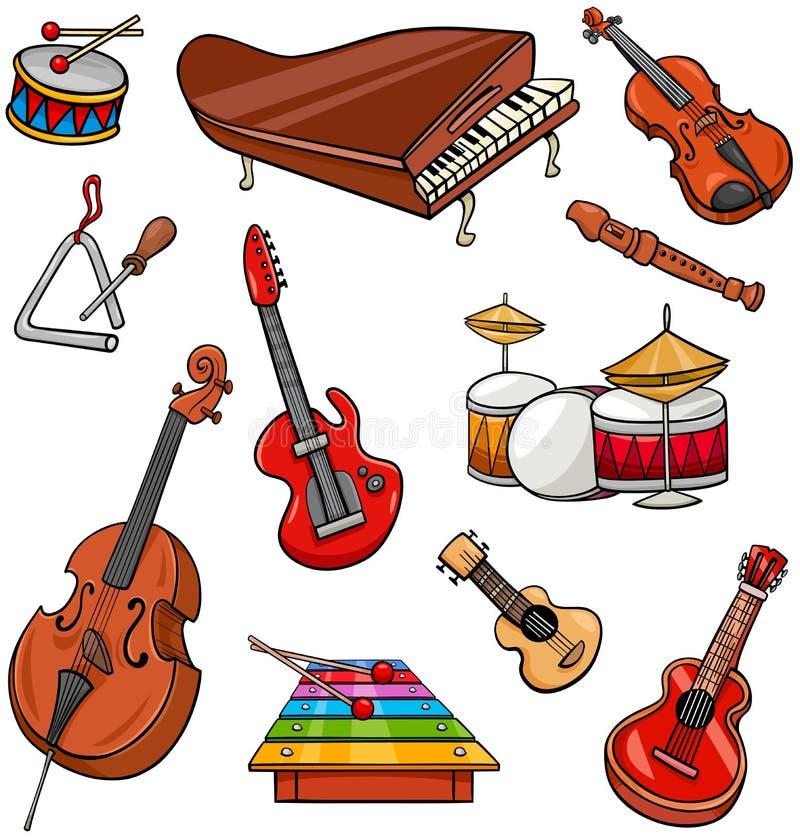 Instrument muzyczny kreskówki ilustracji set royalty ilustracja