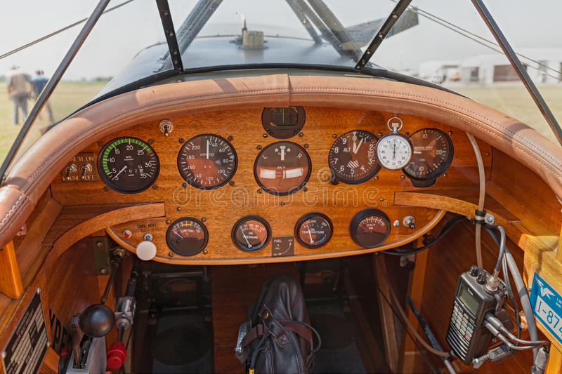 Instrument panel of Boredom Fighter aircraft. Cockpit and dashboard of a plane designed to be similar to a wartime SPAD fighter, exposed at festival Belle royalty free stock photography
