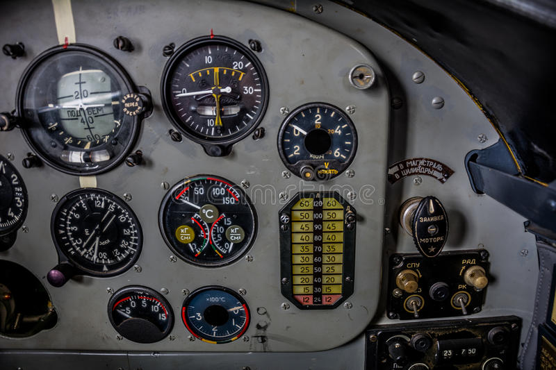 Instrument panel control aircraft royalty free stock photos