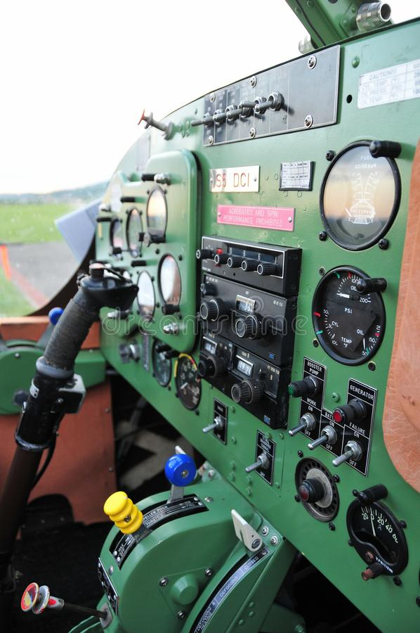 Instrument panel in small sport aircraft stock photography