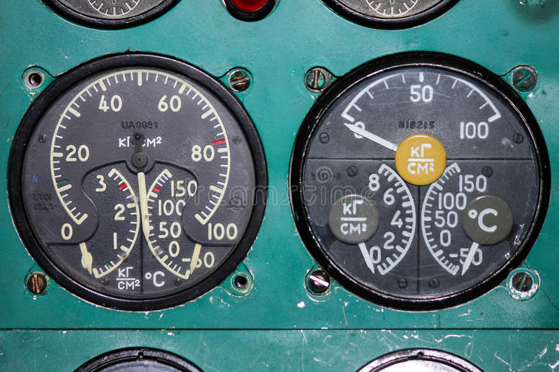 The instrument panel of the Tu-154M aircraft royalty free stock photo