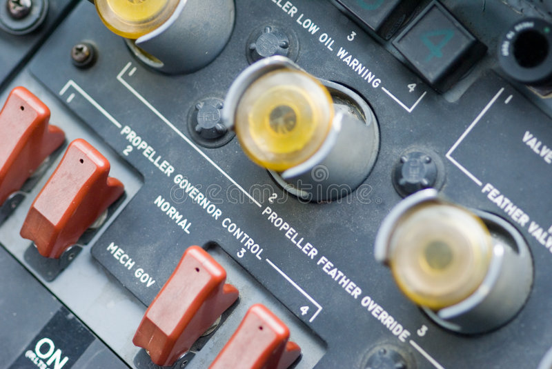 Instrument Panels in C-130 royalty free stock photo