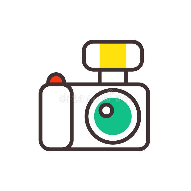 Instrument van de de bezinningsfilm van de fotocamera het vector op het witte art. van de achtergrond en overzichtstype objectiev vector illustratie