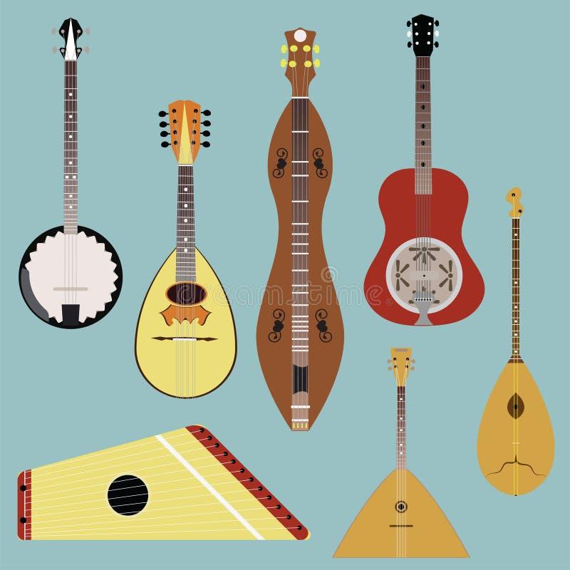 Instrument-Vektorsatz der ethnischen Musik Musikinstrumentschattenbild vektor abbildung