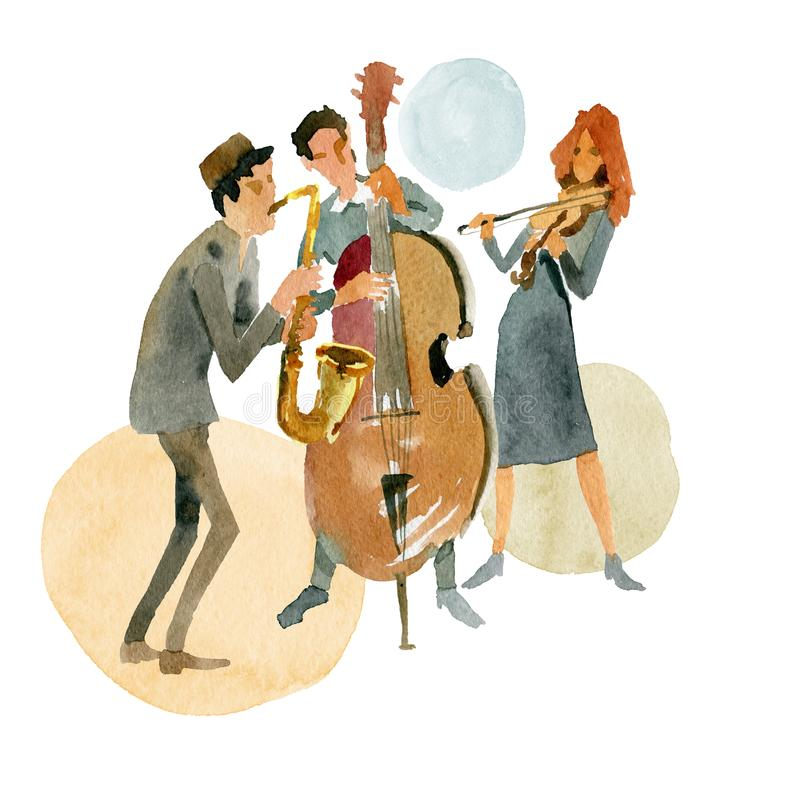 Instrumental jazz trio consisting of double bass, violin and saxophone royalty free illustration