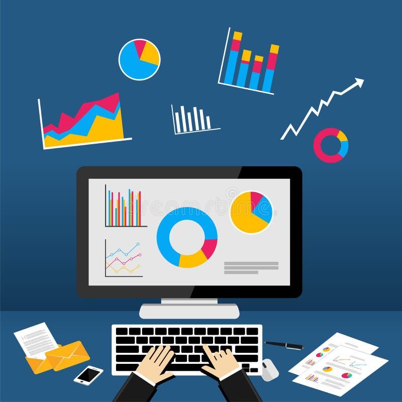 Instrumentbräda för affärsintelligens på datoren stor statistik för affärssamling royaltyfri illustrationer