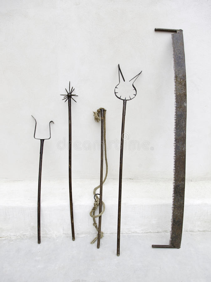 Instrumente der Folterung, Untersuchung stockbild
