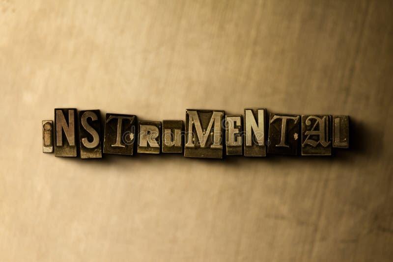 INSTRUMENTELL - Nahaufnahme der grungy Weinlese setzte Wort auf Metallhintergrund vektor abbildung