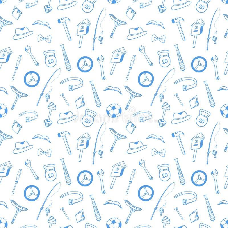 instrumenten Het naadloze patroon van de sportuitrusting Concept voor de Echtgenoot, Vader Day Ontwerp van verpakkend document, o vector illustratie