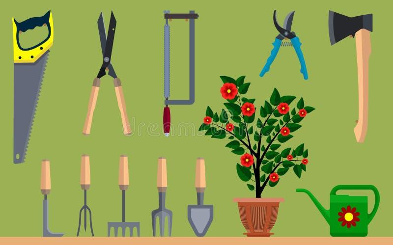 Instrumentet för att arbeta i trädgården blomkrukan som bevattnar kan yxan och sågen royaltyfri illustrationer