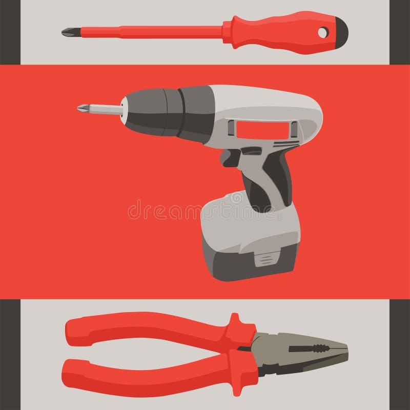 Instrumentieren Sie Werkzeugsatz - Schraubenzieher, Bohrgerät und lizenzfreie abbildung