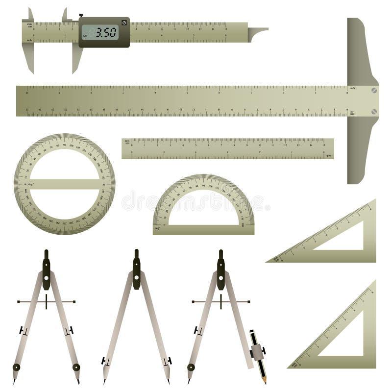 instrumentmatematikmätning vektor illustrationer
