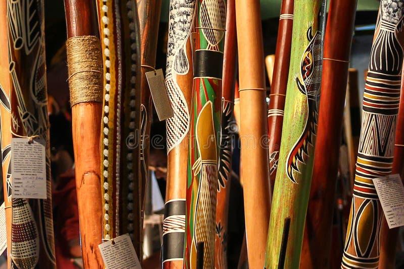 Instrumento aborígene, didgeridoo fotos de stock royalty free