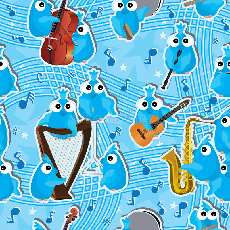 Instrumento azul Pattern_eps inconsútil de los pájaros libre illustration