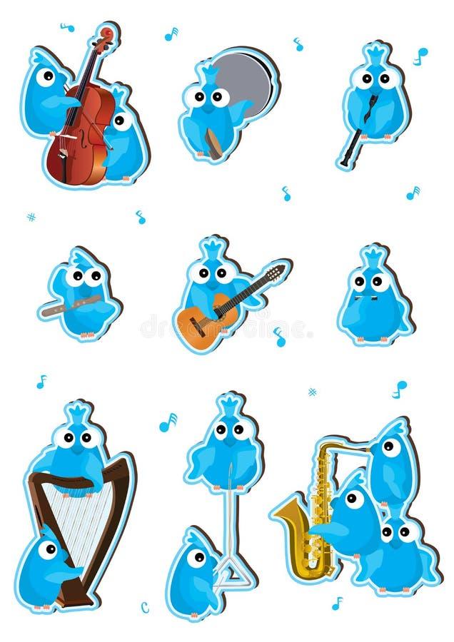 Instrumento azul Set_eps dos pássaros ilustração do vetor