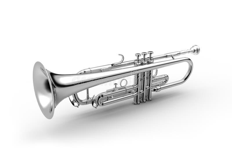Instrumento clásico de la trompeta aislado en el ejemplo blanco 3D stock de ilustración