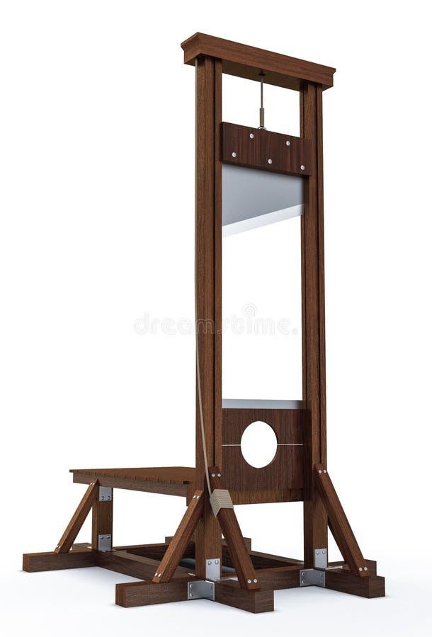Instrumento de la guillotina para infligir la pena de muerte por la degollación ilustración del vector