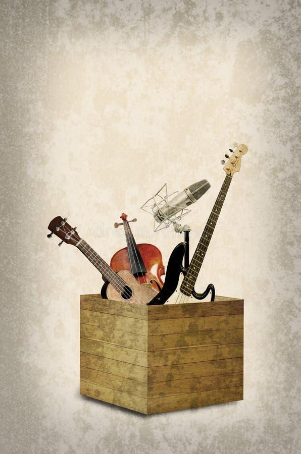 Instrumento de música agradável na caixa de madeira fotos de stock royalty free