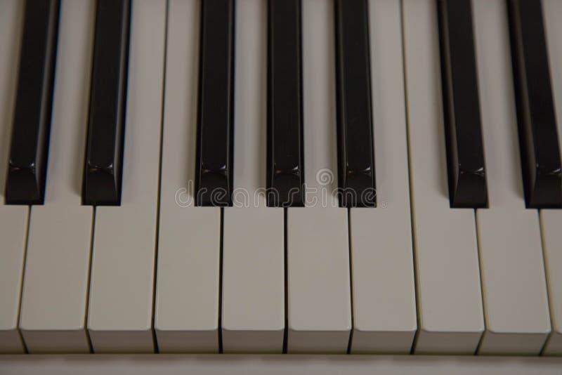 Instrumento de música branco da chave do piano do close up foto de stock royalty free
