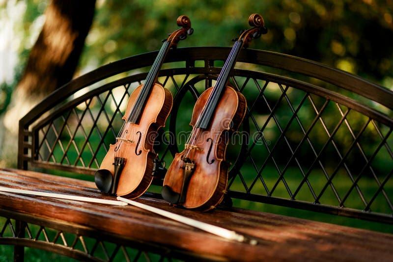 Instrumento de música del violín de la orquesta Violines en el parque en el banco fotos de archivo libres de regalías