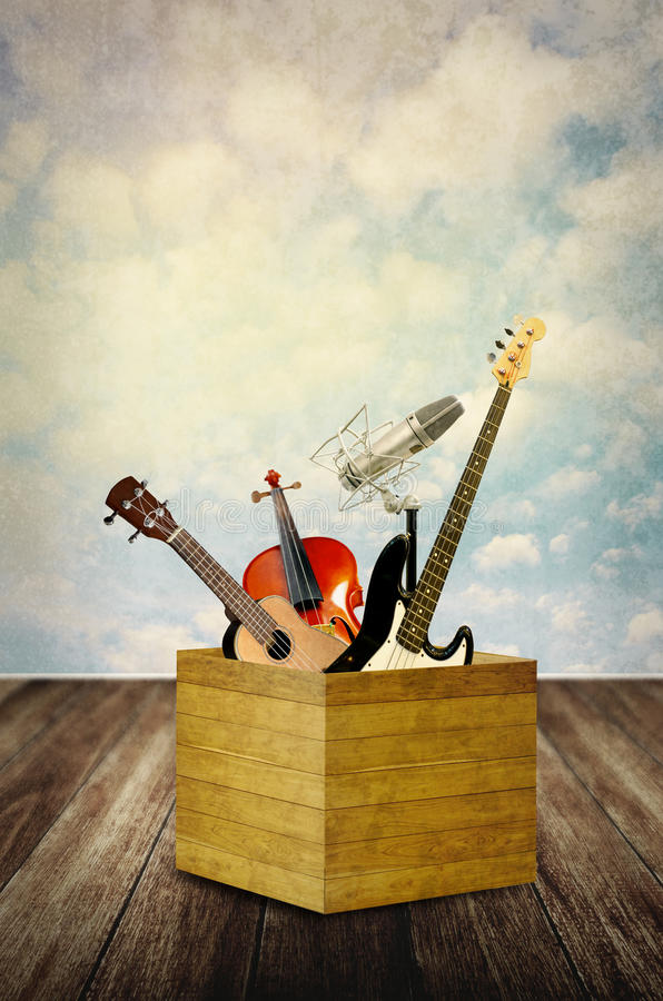 Instrumento de música na caixa fotografia de stock royalty free