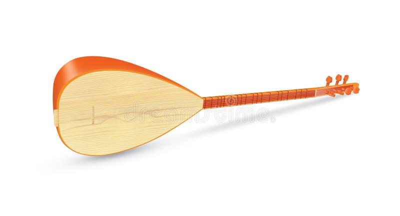 Instrumento de música turco tradicional de Saz isolado ilustração royalty free