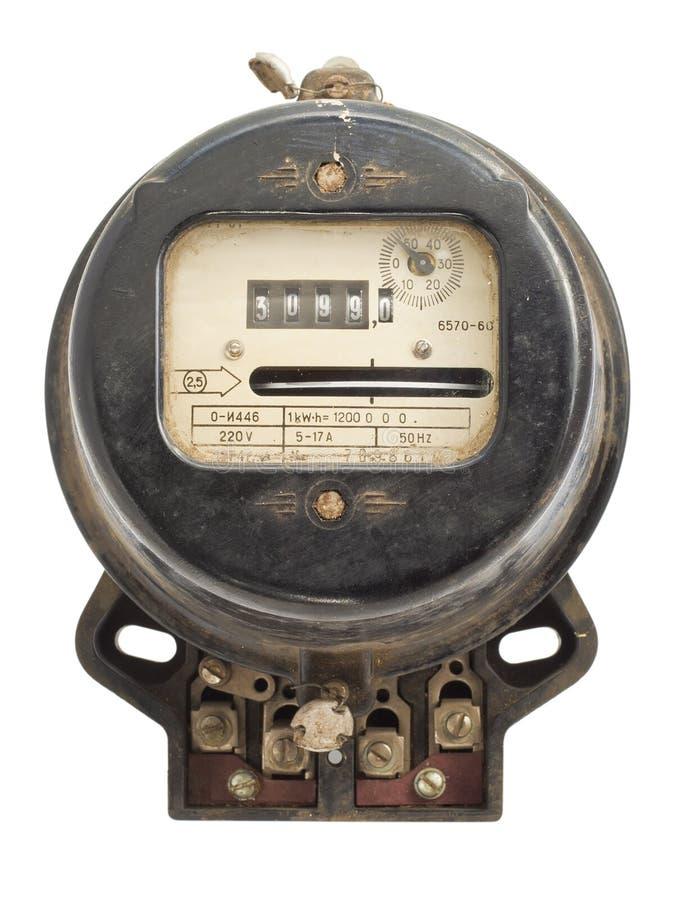 Instrumento de medida retro de la energía eléctrica fotografía de archivo libre de regalías
