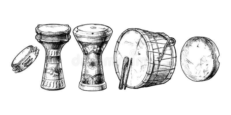 Instrumento de percussão do Oriente Próximo ilustração do vetor