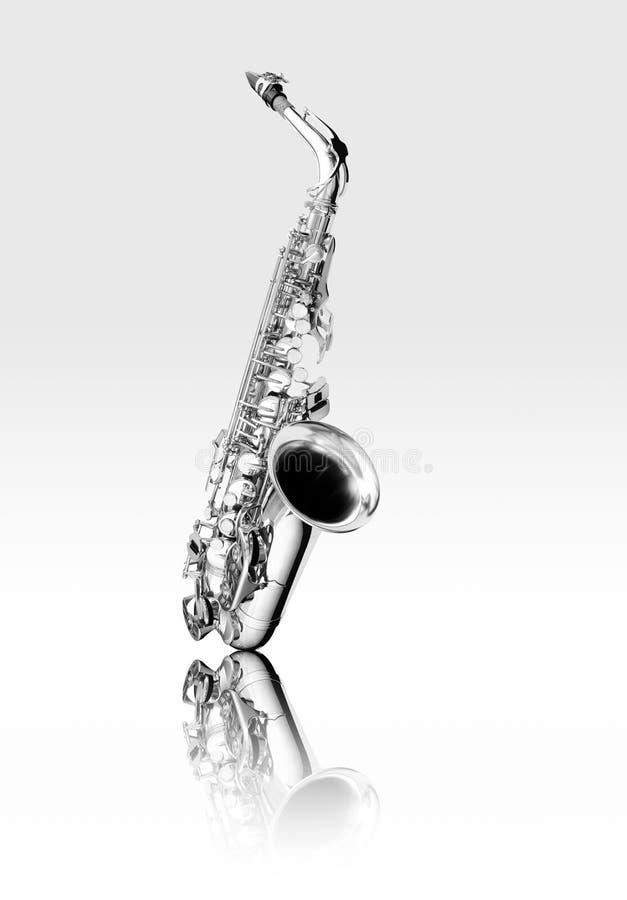 Instrumento de woodwind blanco y negro del saxofón del alto imagen de archivo