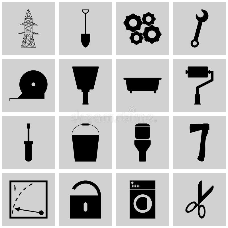 Instrumento fijado iconos del vector de la reparación ilustración del vector