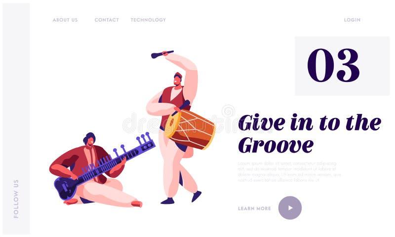 Instrumento indiano Dhol de Playing Classical Musical do músico e Sitar na página da aterrissagem do concerto Cilindro do jogo do ilustração royalty free